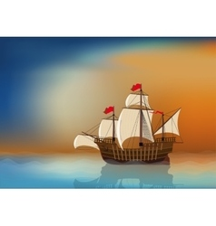 Sailing Ship at Sea vector image