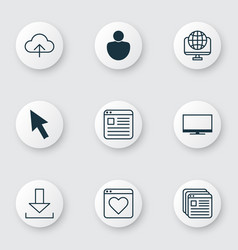 set of 9 internet icons includes mouse login vector image vector image