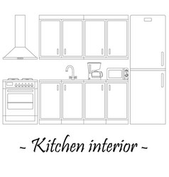 black-and-white of a kitchen interior vector image vector image