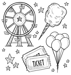 doodle fair carnival set vector image vector image