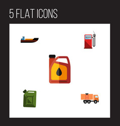 flat icon oil set of jerrycan van fuel canister vector image vector image