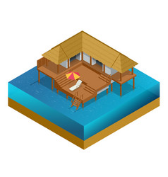 isometric bungalow summer house wooden villa vector image