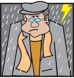 man sitting in rain logo vector image vector image