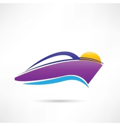 rest on a yacht at sunset icon vector image vector image