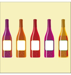 set of colorful wine bottles with sparkles vector image