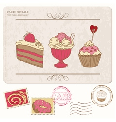 Set of cupcakes on old postcard vector image vector image