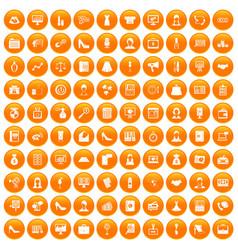 100 business woman icons set orange vector image