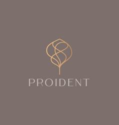Abstract elegant golden linear tree logo icon vector