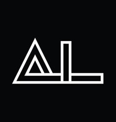 Al logo monogram with line style negative space vector
