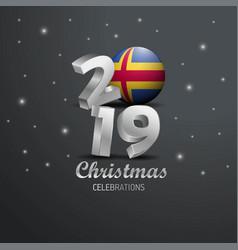 Aland flag 2019 merry christmas typography new vector