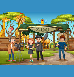An outdoor interview at zoo vector