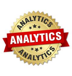 Analytics round isolated gold badge vector