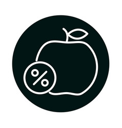 Apple with sale percentage label block and line vector