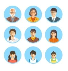 Asian family happy faces flat avatars set vector