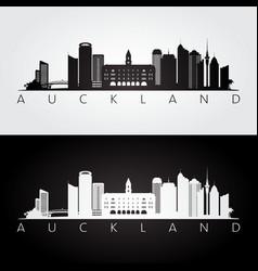 Auckland skyline and landmarks silhouette vector