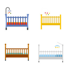 Baby crib cradle bed icons set flat style vector