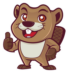 Beaver mascot on white vector