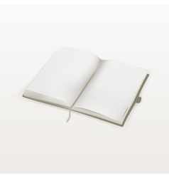 Blank opened copybook template with bookmark vector image