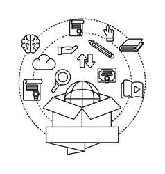 Box with globe vector