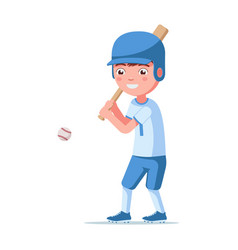 Boy baseball player hits ball vector