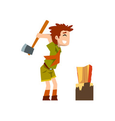 boy scout character in uniform chopping the wood vector image
