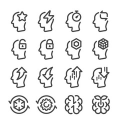 Brain performance line icon set vector
