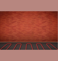 Brick wall with water heating floor vector