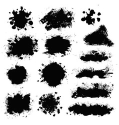 Brush stroke paint boxes set vector
