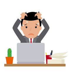 businessman sitting at his desk vector image