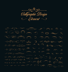 calligraphic design elements set vector image