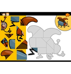 Cartoon beetle jigsaw puzzle game vector
