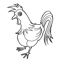 Cartoon cute rooster coloring page vector