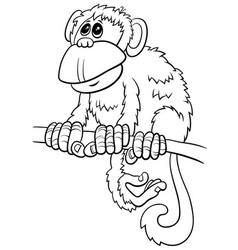 Cartoon monkey comic animal character coloring vector