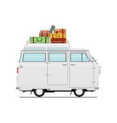 cartoon van with suitcases vector image