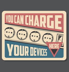 charge device retro poster with sockets vector image