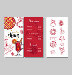 christmas winter menu 2 vector image