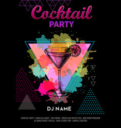 Cocktail cosmopolitan on artistic polygon vector
