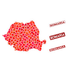 Collage of red mosaic map of romania and grunge vector