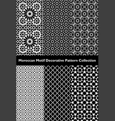 Collection moroccan motif tile patterns vector