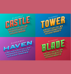 condensed original display set fonts vector image