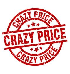 Crazy price round red grunge stamp vector