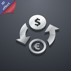 Currency exchange icon symbol 3D style Trendy vector image