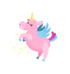 cute cartoon pink magic unicorn pegasus vector image
