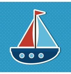 cute sailboat baby icon vector image