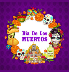 Dia de los muertos mexican day dead celebration vector