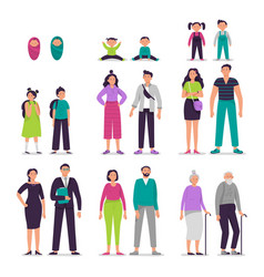 Different ages people couples man and woman vector