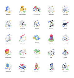 E banking isometric pack vector