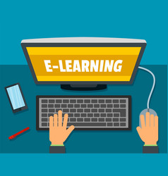 E-learning background flat style vector