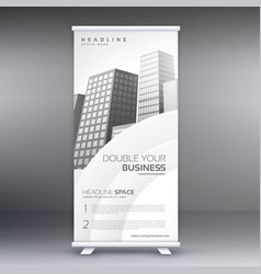 Elegant white standee roll up banner design vector