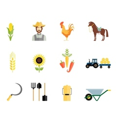 Farmer tools icons vector